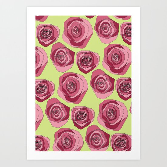 Bright Rose Pattern Art Print