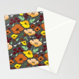 Flower Petals and Bees Grey Stationery Cards