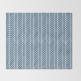 Herringbone Navy Inverse Throw Blanket