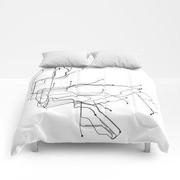 New York City White Subway Map Comforters