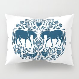 Modern Folk Art Horse Illustration with Botanicals and Chickens Pillow Sham