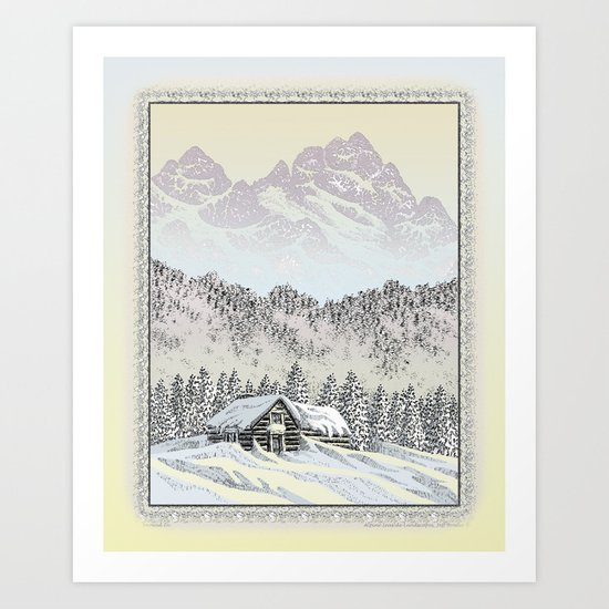 SNOWED IN PEN DRAWING COLOR VERSION Art Print