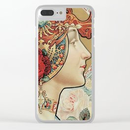 Lady With Flowers - Alphonse Mucha Clear iPhone Case