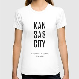 Kansas City Missouri Coordinates T-shirt