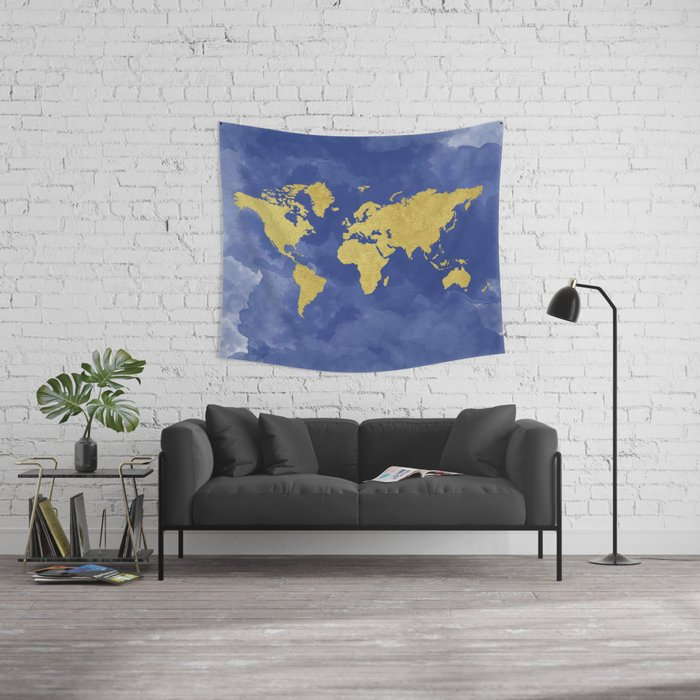 Gold navy world map elegant gold foil nursery wall tapestry by gold navy world map elegant gold foil nursery wall tapestry by peachandgold society6 gumiabroncs Choice Image