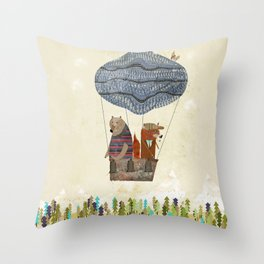 fox and bears wondrous adventure Throw Pillow