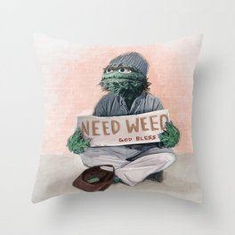 Oscar The Grouch Needs Weed - Sesame Street Throw Pillow