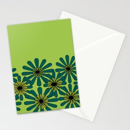 Green Flower Pattern Stationery Cards