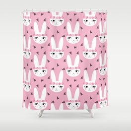 Bunny baby girl rabbit illustration cute decor for girls room pink pattern by charlotte winter Shower Curtain