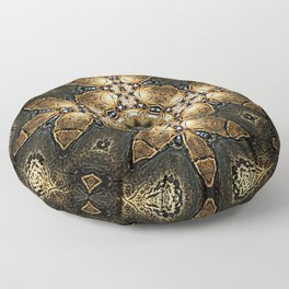 Golden Tribal Abstract Pattern Floor Pillow
