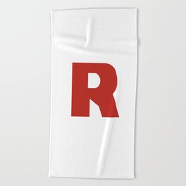 Letter R on White Beach Towel