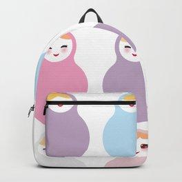 dolls matryoshka on white background, pastel colors Backpack