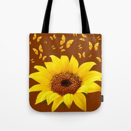 COFFEE BROWN YELLOW SUNFLOWER & BUTTERFLIES Tote Bag