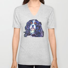 Tri-color Cavalier King Charles Spaniel Dog bright colorful Pop Art by LEA Unisex V-Neck