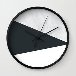 Marble, dark navy ad white Wall Clock