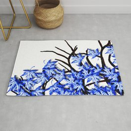 Maple Leaves Blue Rug