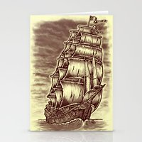 pirate ship Stationery Cards featuring Caleuche Ghost Pirate Ship by Roberto Jaras Lira