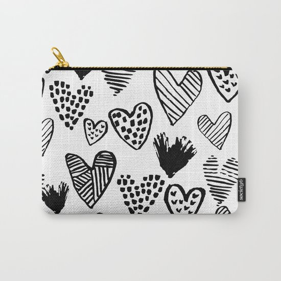 Hearts black and white hand drawn minimal love valentines day pattern gifts decor Carry-All Pouch