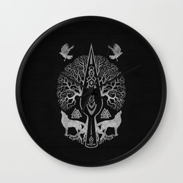 Gungnir - Spear of Odin and Tree of life  -Yggdrasil Wall Clock