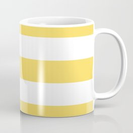 Naples yellow - solid color - white stripes pattern Coffee Mug