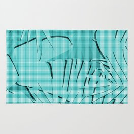 Turquoise Tropical Leaves Plaid Design Rug