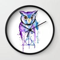 hedwig Wall Clocks featuring Hedwig by Simona Borstnar