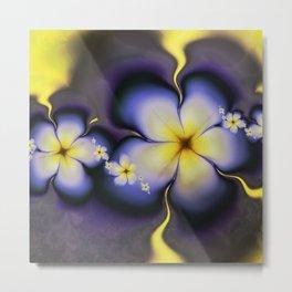 Petite Fleur Jaune Fractal Metal Print