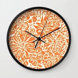 Marigold Lino Cut, Tangerine Orange Wall Clock