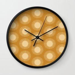 Golden Sun Pattern II Wall Clock