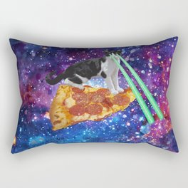 Galaxy Laser Beam Eyes Cat on Pizza Rectangular Pillow