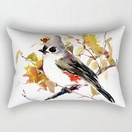 Titmouse and Fall colors foliage bird art design bird lover gift vintage style Rectangular Pillow