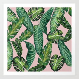 Jungle Leaves, Banana, Monstera II Pink #society6 Art Print