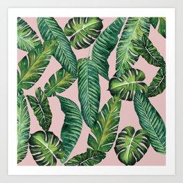 Jungle Leaves, Banana, Monstera II Pink #society6 Kunstdrucke