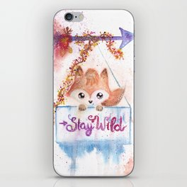 Cute Fox Stay Wild Quote Illustration iPhone Skin
