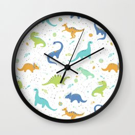Space Dinosaurs on White (Orange + Blue) Wall Clock