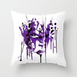 Encres violet Throw Pillow