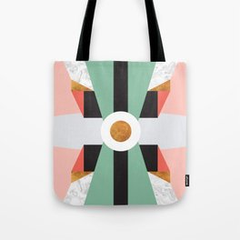 Mid Century Modern Geometric Abstract Retro 70s Pink Green Gold Black Tote Bag