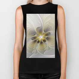 Gold And Silver, Abstract Flower Fractal Biker Tank