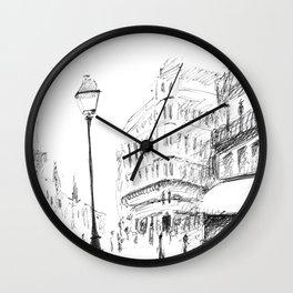 Sketch of a Street in Paris Wall Clock