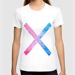 SUICIDE SQUAD HARLEY QUINN INSPIRED RED AND BLUE CROSS. T-shirt