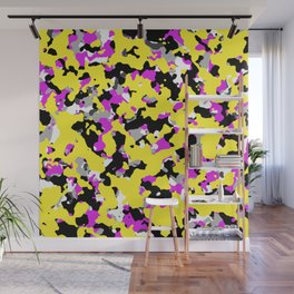 Yellow Pink Black Camouflage Wall Mural