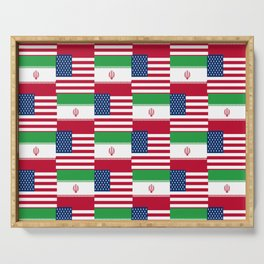 Mix of flag: Usa and Iran. Serving Tray
