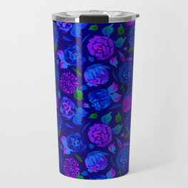 Watercolor Floral Garden in Electric Blue Bonnet Travel Mug