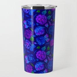 Watercolor Floral Garden in Electric Blue Bonnet Travel Mug