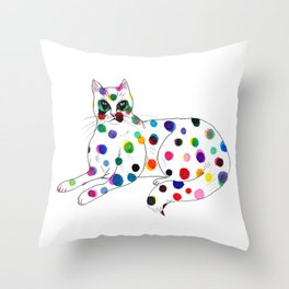 Dotted Cat - Color ink Drawing Throw Pillow