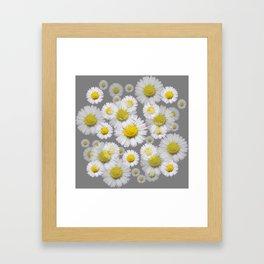 GREY GARDEN OF SHASTA DAISY FLOWERS ART Framed Art Print