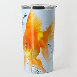 JUMPING  GOLDFISH SPLASHING  WATER ART Travel Mug