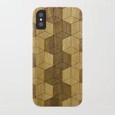 Wooden Zig Zag Optical Cubes iPhone X Slim Case