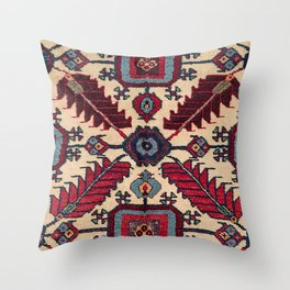 Red Feathers Lake Urmia 19th Century Authentic Colorful Blue Green Vintage Patterns Throw Pillow