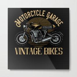 Motorcycle Garage vintage Bikes Metal Print